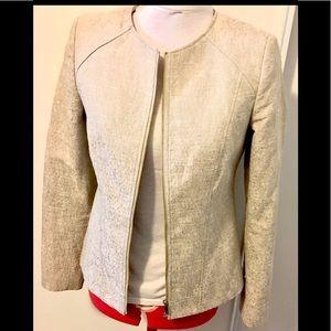 Calvin Klein gold zipper jacket medium cream euc